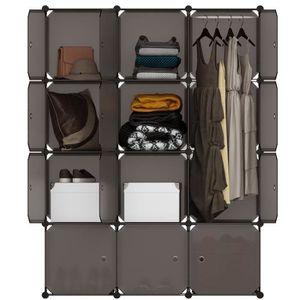 PENDERIE SOUPLE LANGRIA 12 Cubes Armoire à Vêtement Penderie en Pl