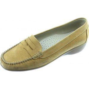 antidérapant nubuck confortable chaussures sensibles Mocassin flexible beige Aérobics et femme cuir pieds souple marque AERO qRUfw