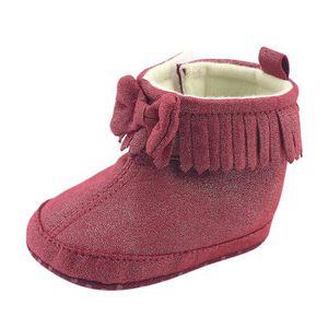 BOTTE Toddler nouveau-né bébé garçon fille bowknot bottes Prewalker Martin chaud chaussures@KhakiHM YE9F3V