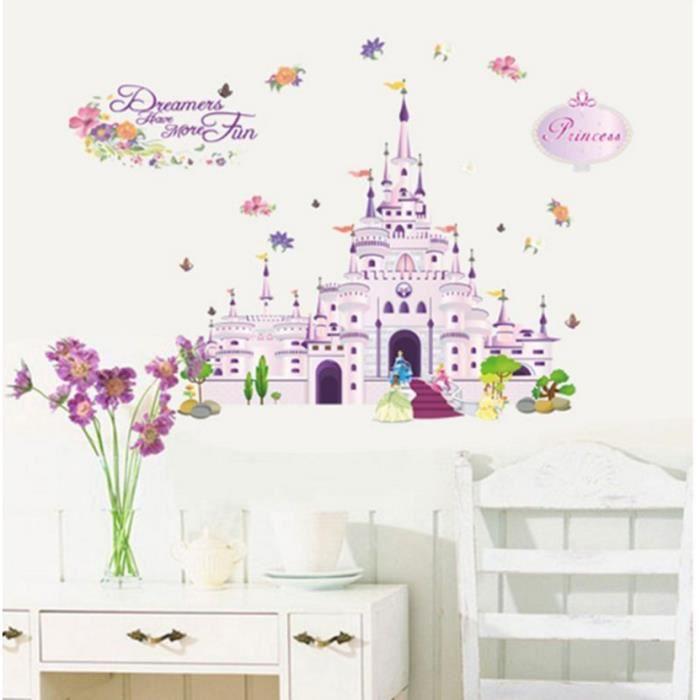 Mur fille château de princesse sticker chambre art décoration de ...