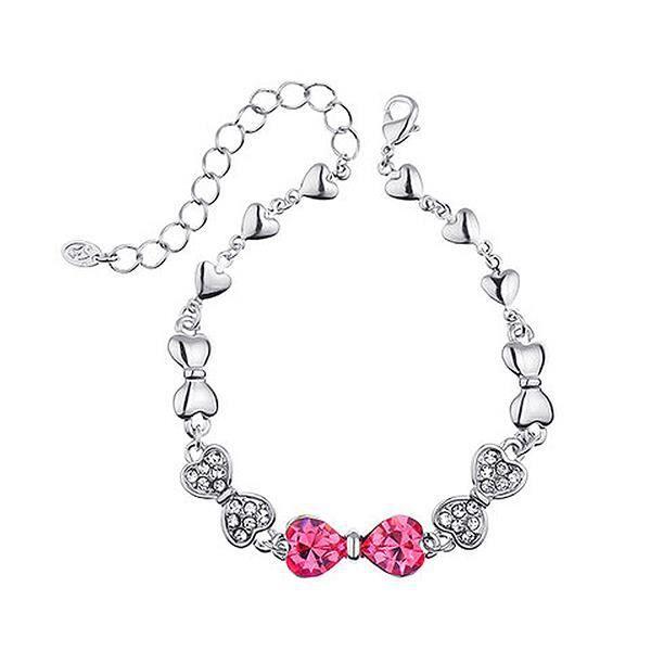 Arc rose mignon avec bracelet Swarovski élément de cristal (15622)
