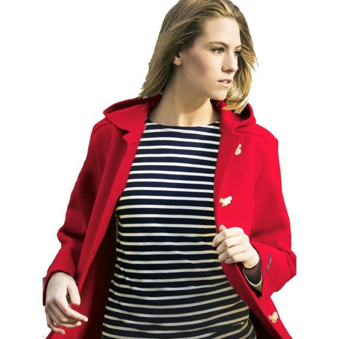 7169996edb Caban Femme laine Made in France DALMARD MARINE Olympie rouge Couleur -  rouge,