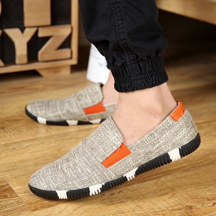 Hommes Chaussures Plates Toile Respirante Caout...