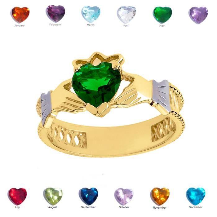 Bague Femme 10 Ct Or Jaune Vert Emeraude Celtique Claddagh
