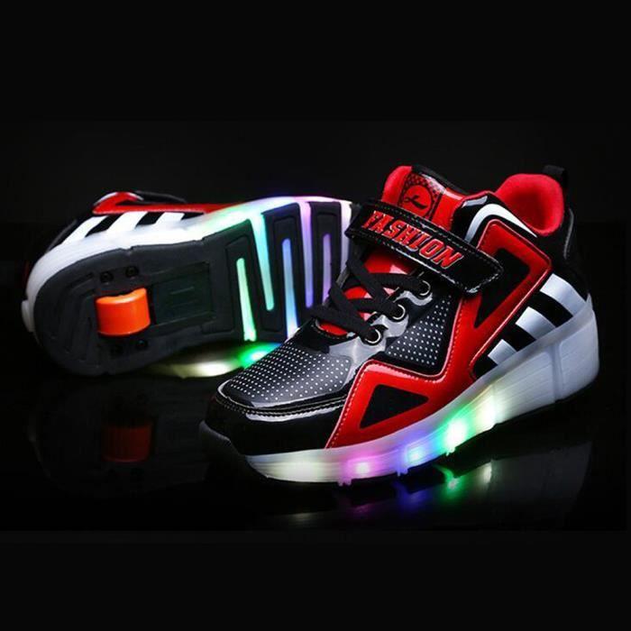 de chaussure filles à Heelys Rouge wheel avec automatique chaussures roulettes Sneakers patinage roues un enfants garçons waqpva7B