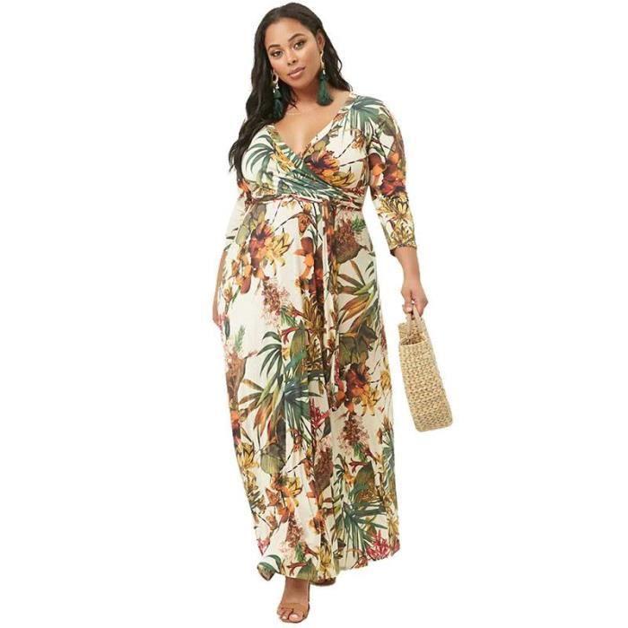 95d83030d300f Robe Femme Longue Grande Taille Col V 3-4 Manche Imprime Avec Ceinture