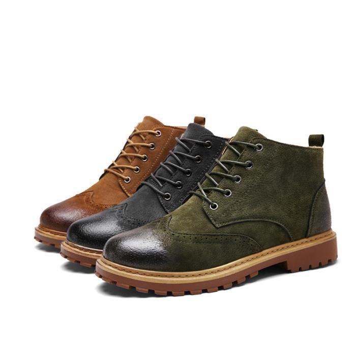 Bottine Homme Comfortable Classique Chaussure Hommes BLKG-XZ218Marron40
