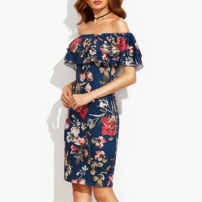 Dété dress 2017 vêtements femmes à manches courtes multicolore imprimé floral outre de lépaule à volants gaine dress