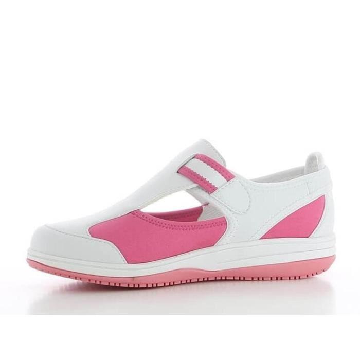 Chaussure médicale blanche et rose SRC antistatique en lycra Oxypas