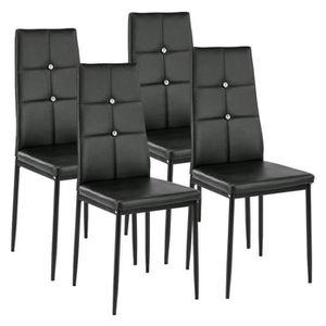 4pcs Chaises De Salle A Manger Dossier Haut Noir Design