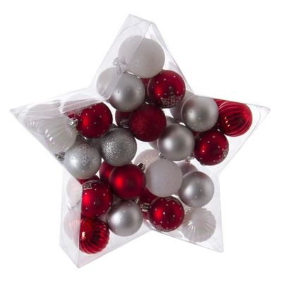Kit Deco Pour Sapin De Noel 40 Pieces Rouge Gris Et Blanc