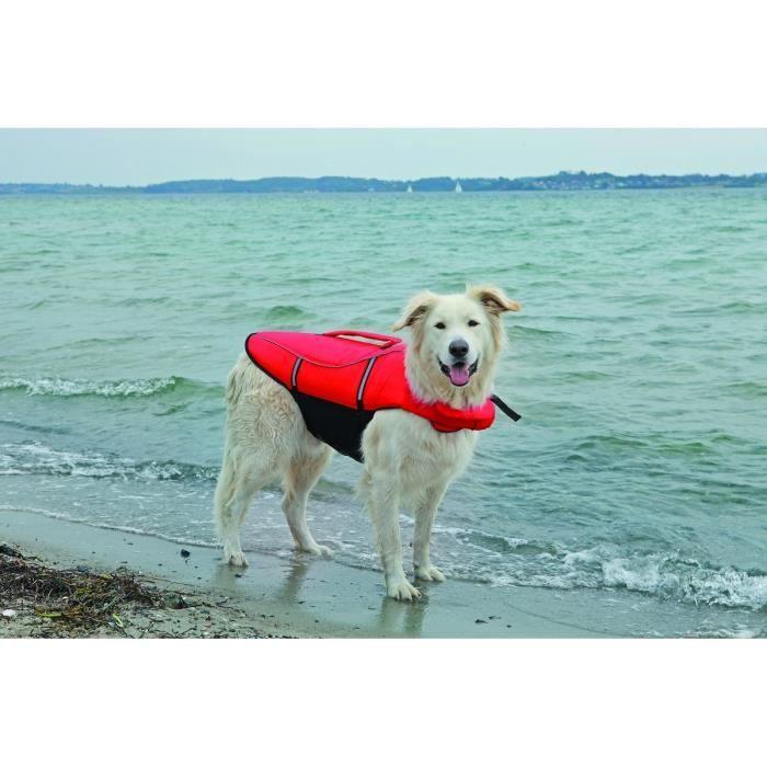 TRIXIE Gilet de flottaison XL: 65 cm rouge/noir pour chien