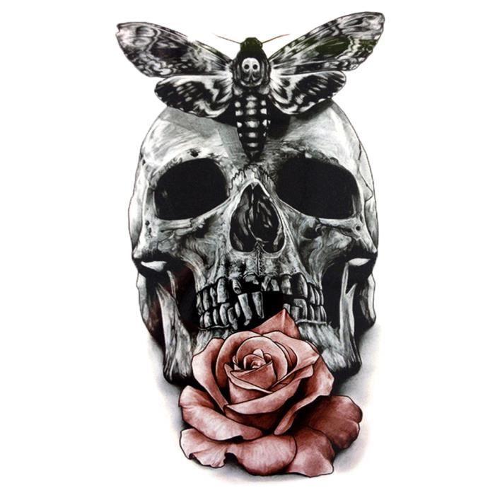 Tatouage Ephemere Tete De Mort Papillon Et Rose Achat Vente