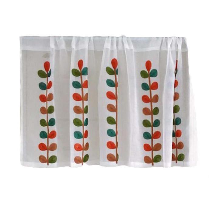 Rideau en tissu de cuisine courte Petite fenêtre Rideau en demi-cafe -  Feuilles translucides
