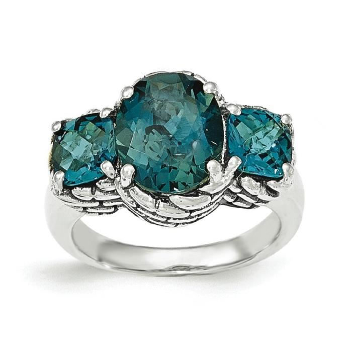 Argent fin 925/1000 avec Topaze Bleu N Londres-Taille 1/2–JewelryWeb
