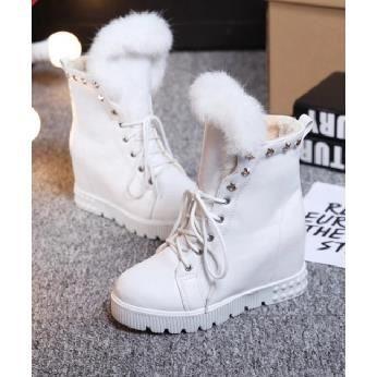 Nouveaux bottes de neige de la mode avec des bottes plates sein de style augmenté de collège, blanc 39