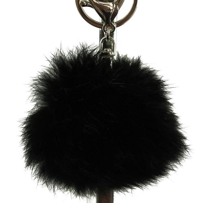 Porte-clés bijou de sac pompon noir en fourrure sy Noir noir - Achat ... c7bef014705