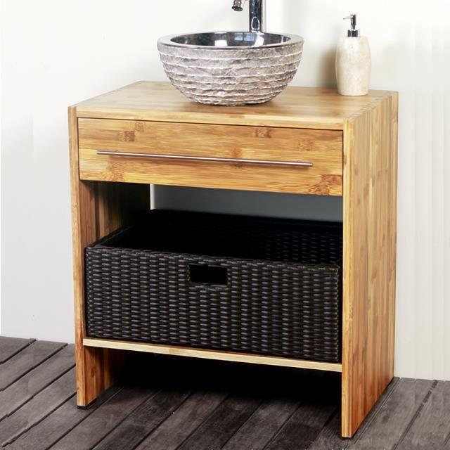 meuble de salle de bain en bambou 68 cm liam jo achat vente meuble vasque plan meuble de. Black Bedroom Furniture Sets. Home Design Ideas