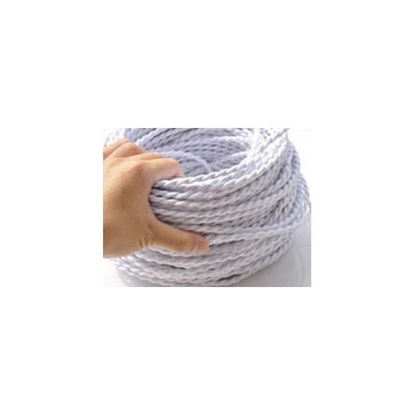 Fil électrique Tressé Blanc Vintage Look Retro En Tissu Achat