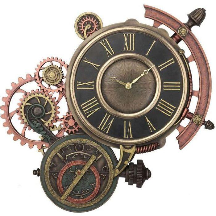 HORLOGE - PENDULE Horloge avec mécanisme rouages engrenages, décorat