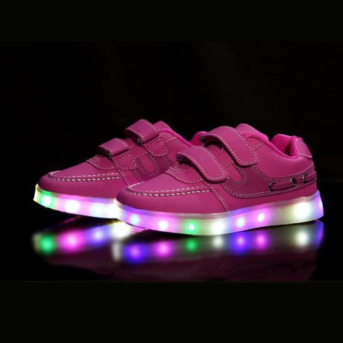 Chaussures Sport LED Lumière Sneakers Rechargeable avec USB Enfant Garçon Fille Rose