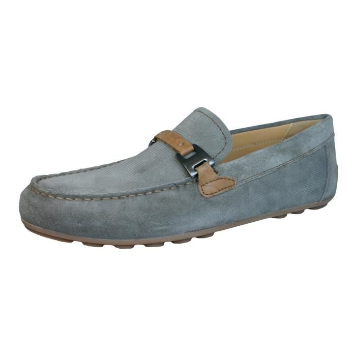 Geox U Giona B Hommes suede Chaussures - Mocassins Gris