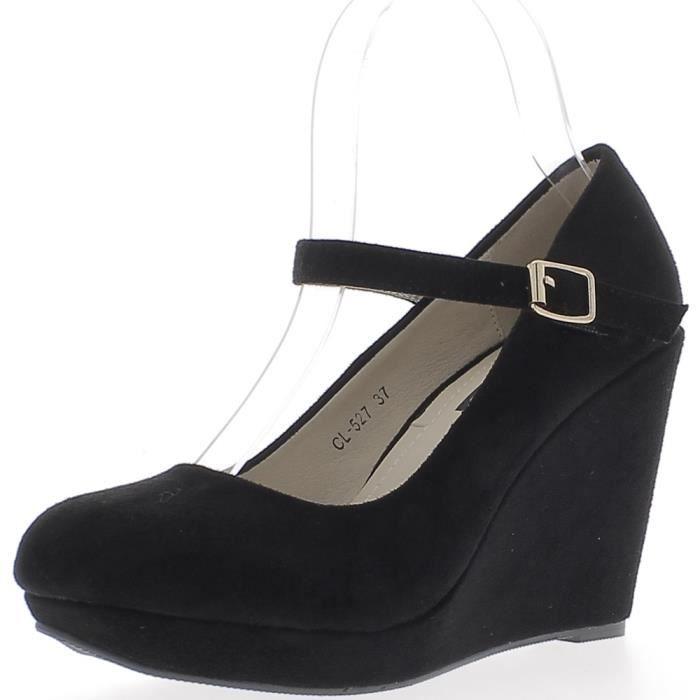 Compensées noires à talon de 9,5cm aspect daim avec fine bride Noir ... abe3f1c4156f