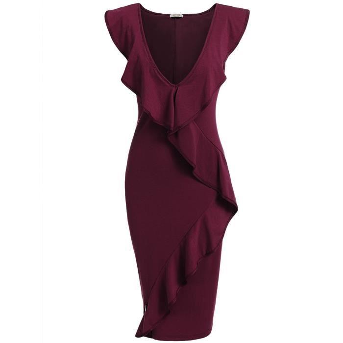 Sexy robe tunique avec volant Brims pour élégant femmes