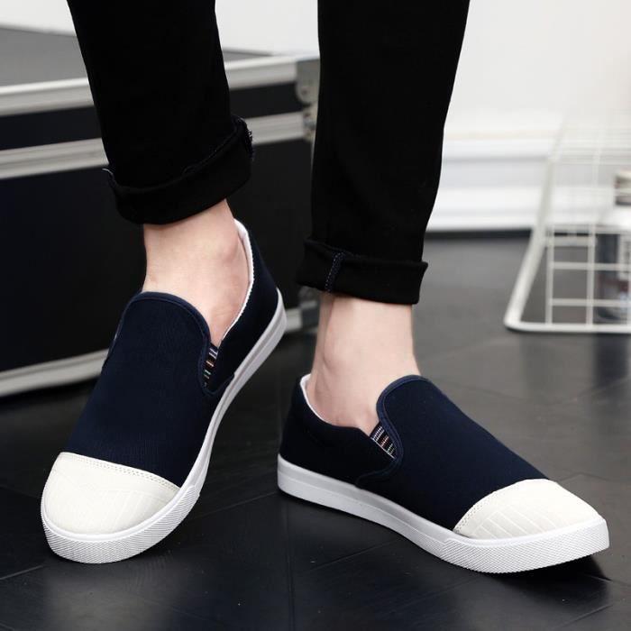 Homme Multisport De Sur Taille8 Slip Casual Sport Bleu Chaussures Canvas Mocassins AqBxf5wfO