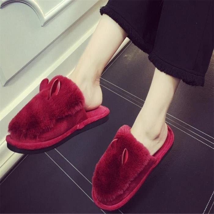 Oreilles Chaussons Nouvelle arrivee Coton Femme Chausson Haut qualité Durable Chaussure Hiver Chaud Série Couple 36-41