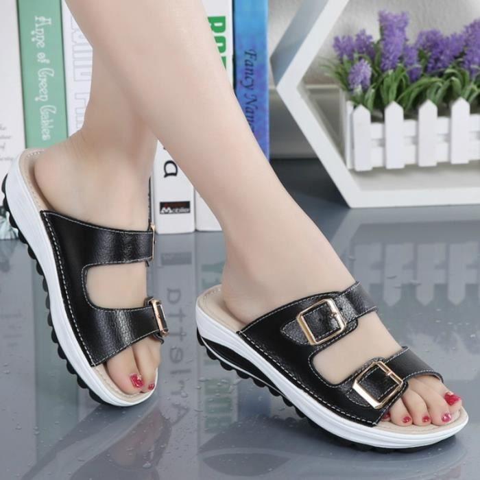 Été Nouveau Femmes Sandales Mode Chaussures Compensées dames blanches sexy Slipper en cuir,noir,41