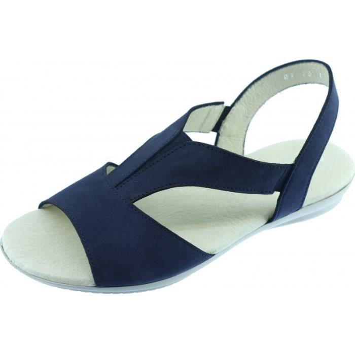 SIERRA - Sandale Nu-pied confort pied sensible chaussures pour Femme flexible et souple marque Aérobics cuir nubuck bleu marine pDWgRz