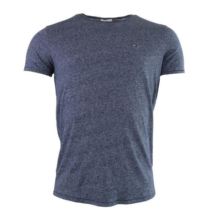 Tommy Hilfiger Denim T-shirt bleu chiné manche courte col rond Slim fit  (Bleu Marine - L) Homme fe378845c6f1