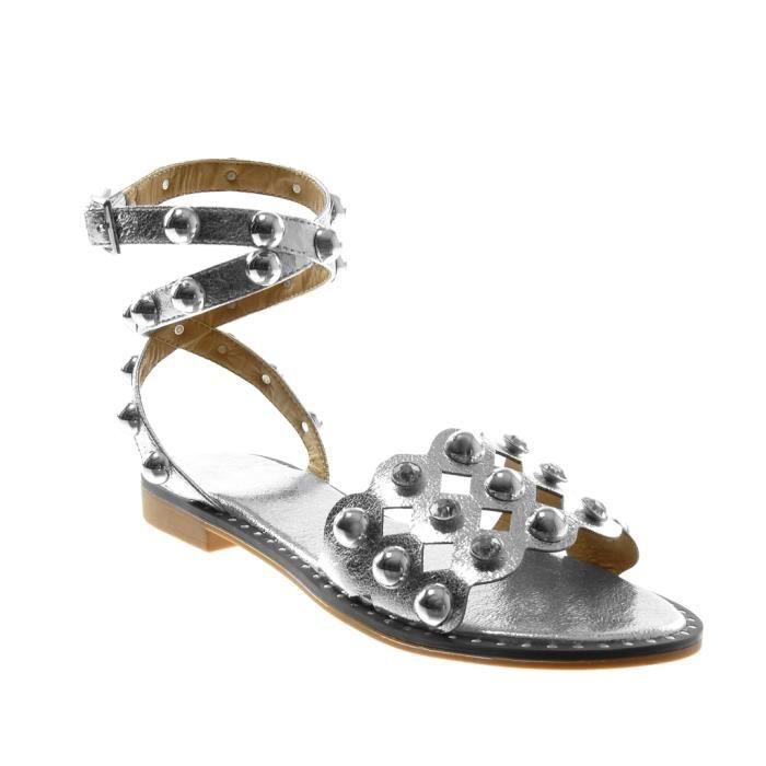 Angkorly - Chaussure Mode Sandale lanière cheville montante femme clouté perforée perle Talon bloc 2 CM - Argent - BC362 T 40