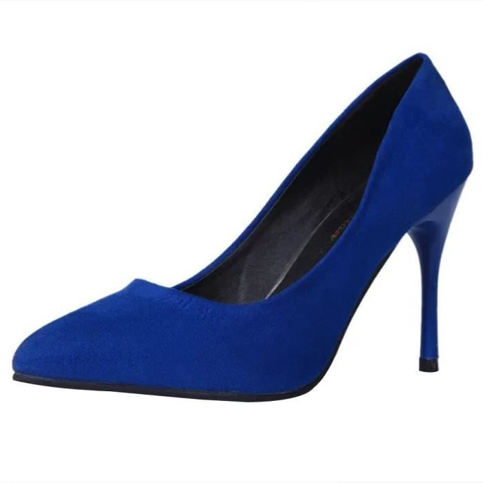 High Party on Pointed Heel Shoes Leisure Fine Fashion Slip Pumps Toe Bleu Femmes wXY0nxqg5f
