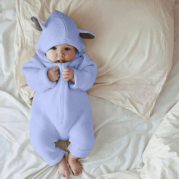 994fbb6c360e5 Bébé nouveau-né bébé garçon Cartoon oreille 3D Romper Jumpsuit d'hiver  vêtements chauds Bleu