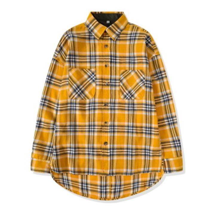 meilleur endroit pour meilleur site boutique officielle Chemisette homme-Chemise à carreaux jaune -ample