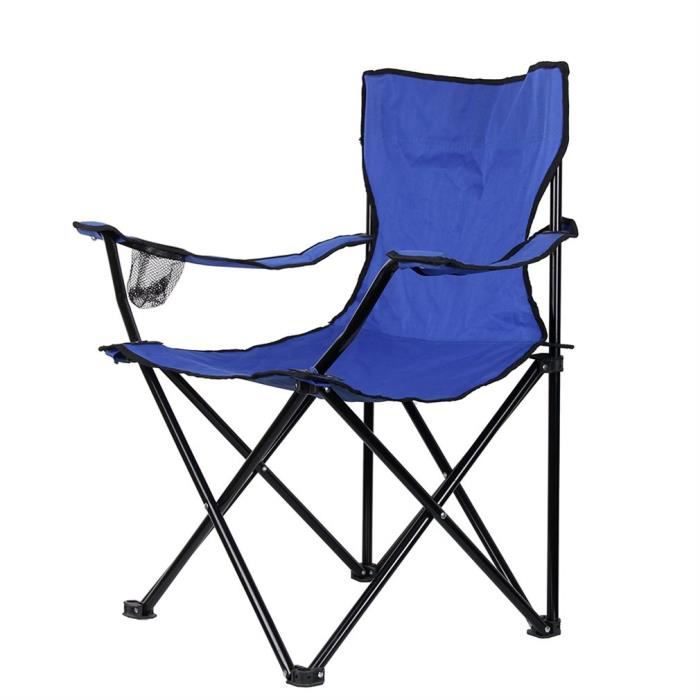 CHAISE DE CAMPING Chaise Pliante Camping Pche Plage Polyester Bleu