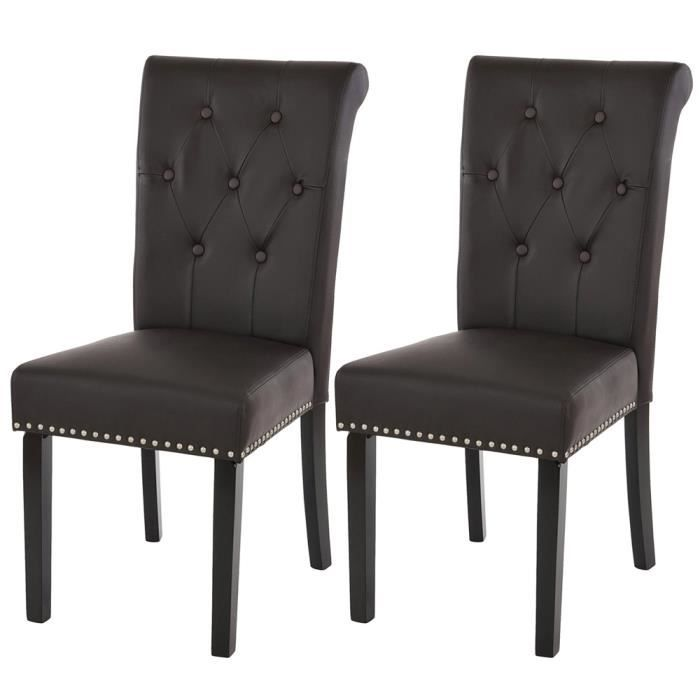 lot de 2 chaises couleur marron pour salle manger avec. Black Bedroom Furniture Sets. Home Design Ideas