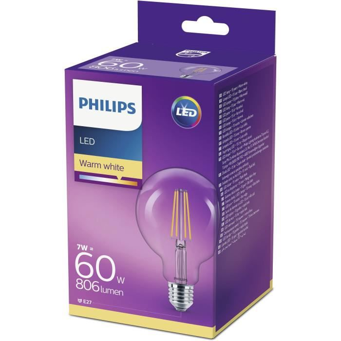 Philips Globe Led Chaud E27 60w Ampoule Équivalent 6w Filament Blanc 6fgbyv7Y