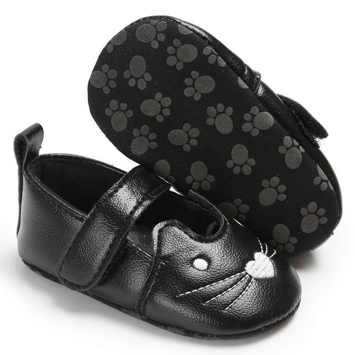 BOTTE Bébé nouveau-né bambin bébé filles crèche chaussures chaussures à semelle souple anti-dérapant@NoirHM
