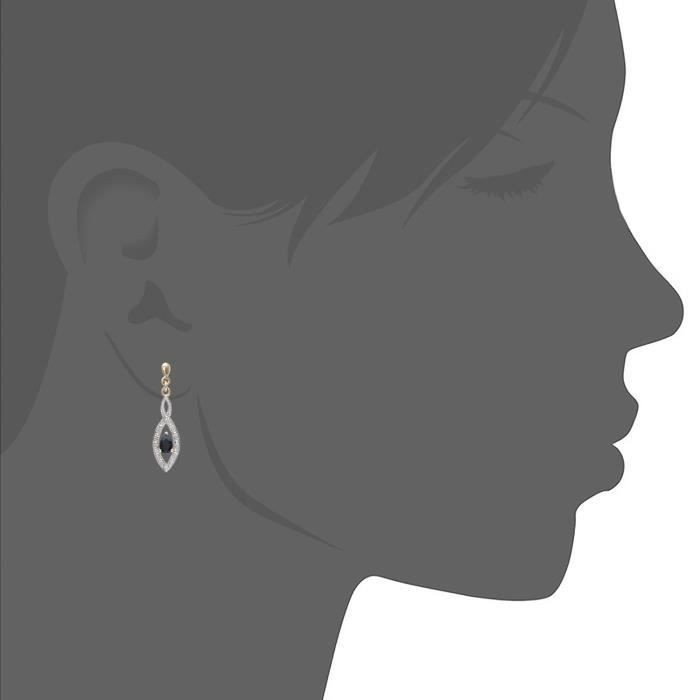 Boucle Doreille Pendantes En Or Jaune (9 Cts)- Diamant - Saphir 0.58 Cts - Femme DCLTA
