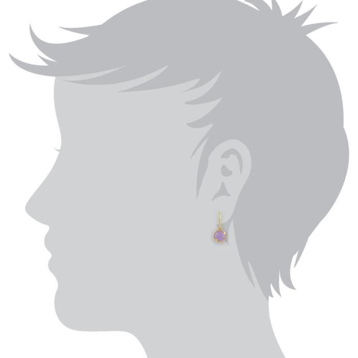 Femme Argent 925-1000 Argent RondViolet Jade IGT91