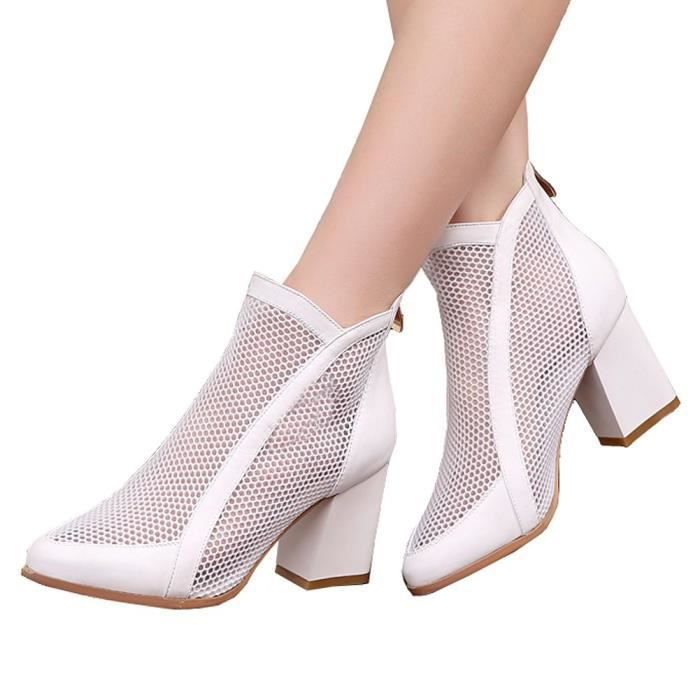 Block Lace Mesh Surface Sexy Mid Heels Zipped Ankle Boots OEZ79 Taille-39