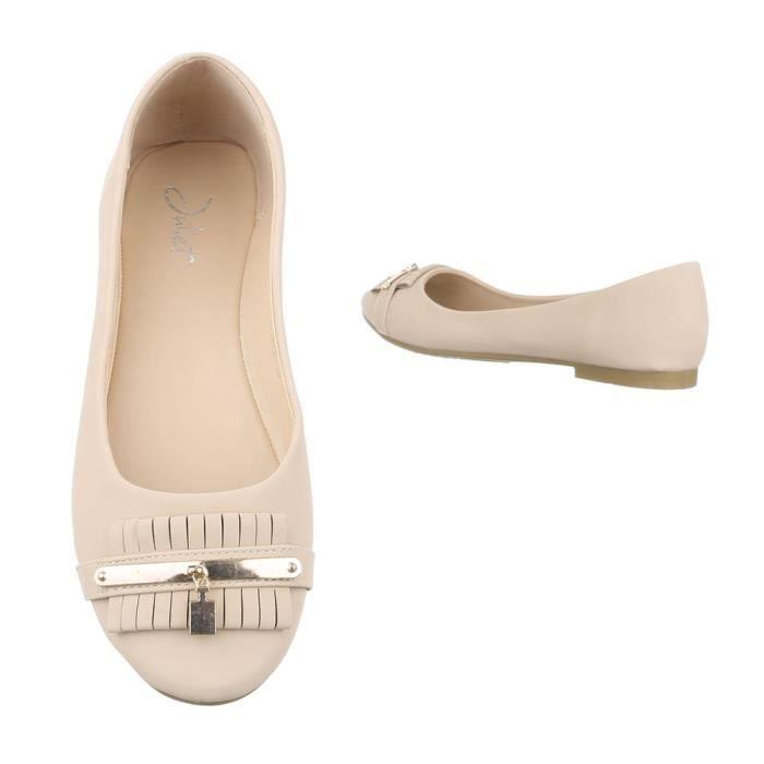 Ballerine Femme noir Mocassin Escarpin Flâneurs Sur Blanc Glisser Beige beige Chaussure x6Pfgnwx