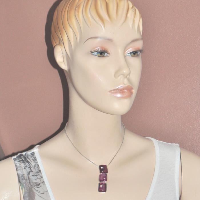 SKALLI Collier plaqué argent chaîne et pendentif résine violet bijou