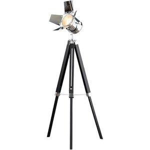 PIED DE LAMPE Lampadaire Vintage HOLLYWOOD chrome noir 140 cm ha