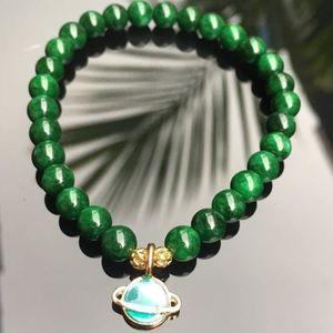 BRACELET - GOURMETTE Bracelet jade vert pierre naturelle avec charme du ... 5d0593eb1674
