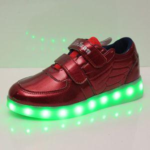 Korean Mode Enfants 7 Couleu USB Charge LED Lumière Lumineux Clignotants Chaussures de Sports Baskets SdoWdq