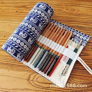 Trousses Bagages Gespout Sac cosmétique Crayon avec trousse Petit Sachet Roulement Objet Blanc avec Motif de cactus 20.5 x 9.5 cm